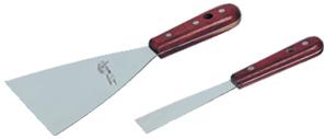 RV-  Espatula inoxidable mango madera 60 mm flexible.